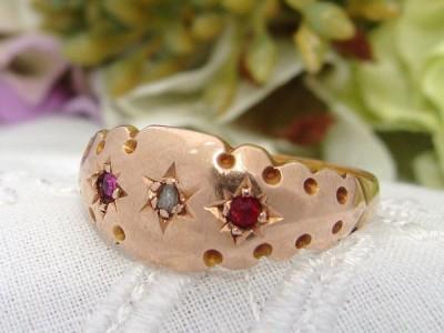 1904 Antique Edwardian 15ct 625 Rose Gold Ruby Diamond Gypsy Ring ENGLISH