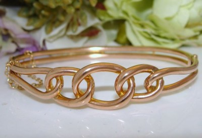 ENGLISH Antique Edwardian 9ct 375 Solid Rose Gold Triple Loop TRILOGY Bangle Bracelet