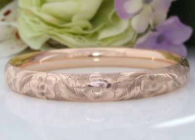 c1910 Antique Edwardian 12ct 12K Pink Rose Gold Filled Shell Bangle Bracelet