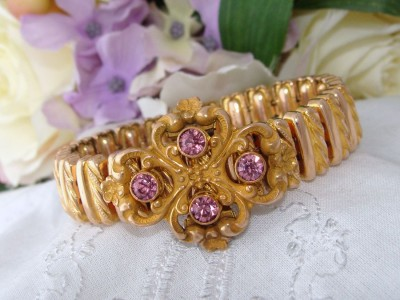 1905 Antique Nouveau 14K Gold GF Jewelled Paste Expansion Repousse Bracelet