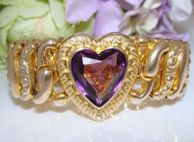 c1930s Antique Vintage Gold Filled 10K 10ct GF Sweetheart Expansion Bracelet Bangle FAB