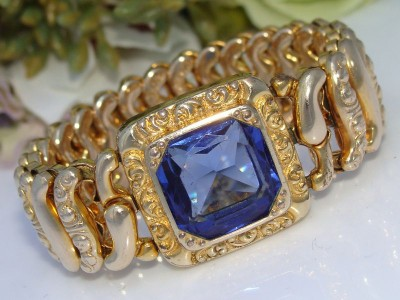 Antique c1930s Vintage Gold Filled GF Expansion BLUE Paste Stone Expansion Bangle Bracelet