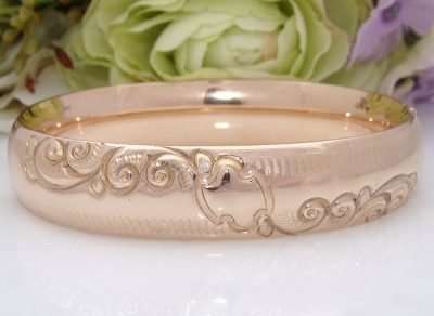 QUALITY c1910 Antique Vintage Repousse 12ct 12K Pink ROSE Gold GF Bangle Bracelet