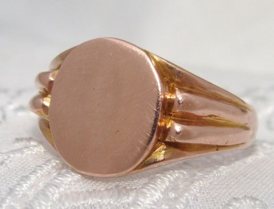1918 Antique Edwardian 9ct 375 Rose Gold Signet Ring UNISEX Men's Lady's English