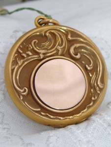 New w/ Tag OLD Antique Nouveau 10K Rose & Yellow Gold GF Repousse Locket Pendant