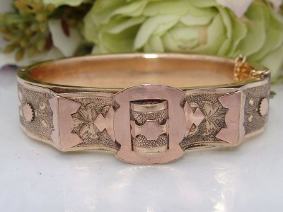 c1880 Antique Victorian 12ct Rose & Yellow Gold GF BELT Bangle Bracelet by BATES & BACON
