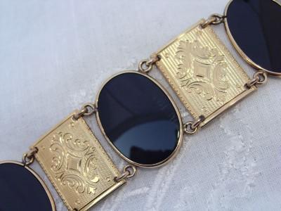 Fancy HUGE & WIDE Antique Vintage 12ct 12K Gold Filled GF ONYX Bangle Bracelet
