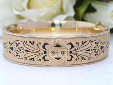 AWESOME Antique Vintage DECO 12K 12ct Gold Filled GF Enamel Bangle Bracelet
