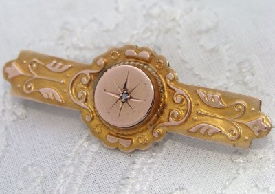 Antique Edwardian 9ct Rose & Yellow Gold Diamond Pin Brooch w/ Locket Window FAB