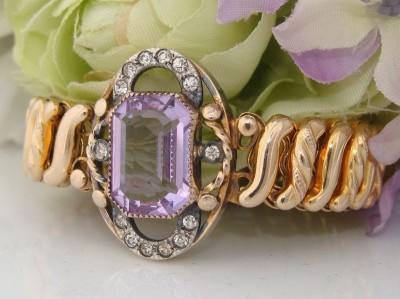 """c1910s Antique Vintage CARMEN 10c 10K Gold GF """"Topaz"""" Lilac Paste Stone Bracelet"""