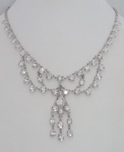 Sterling Silver Look Crystal Antique Vintage 12K 12ct White Gold GF Necklace & Bracelet Set