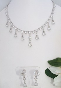 c1930s Crystal Antique Vintage Sterling Silver Look 12ct White Gold Filled GF Necklace & Earring Set
