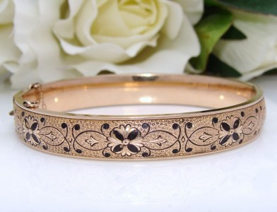 BEAUT Antique DECO Vintage 12K 12ct Yellow Gold GF ENAMEL Bangle Bracelet 1930s
