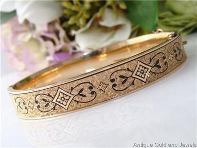 c1930 Antique Vintage Gold DECO 10ct 10K Gold Filled GF Enamel Bangle Bracelet