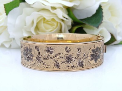 Antique Vintage DECO 12K 12ct Gold Filled GF Floral Enamel Bangle Bracelet