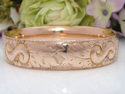 QUALITY Antique Vintage 12ct 12K Rose Gold GF GS REPOUSSE Bangle Bracelet CHASED