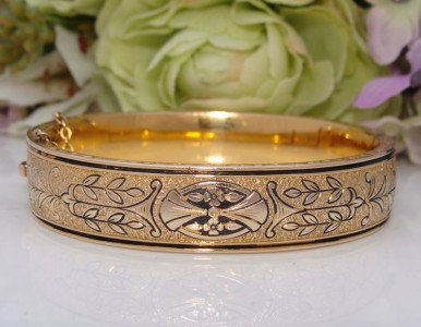 SUPERB c1930s Antique DECO Vintage10K 10ct Gold GF Black Enamel Bangle Bracelet