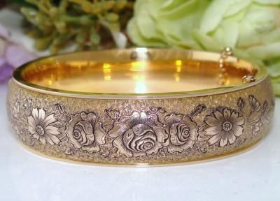 FAB Antique Vintage DECO 10K 10ct Gold Filled GF ROSES Enamel Bangle Bracelet