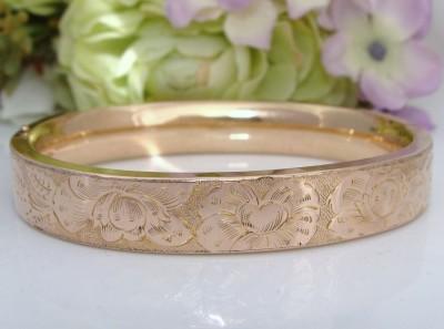 ROSES QUALITY Antique Vintage 12K Rose Pink Gold GF Bangle Bracelet CHASED