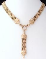 Antique Victorian Soft Rose Gold Filled GF Mesh Chain Y Drop Necklace