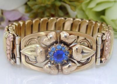 """Lustern c1930 Antique Vintage 12k TRI Gold GF Expansion Bracelet """"Sapphire"""" Paste Stones"""