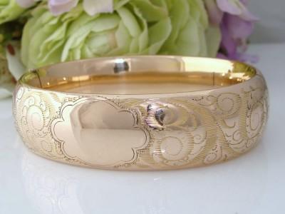 WIDE c1900 Antique Victorian Vintage 14K Gold GF Bangle Bracelet BLANK CARTOUCHE