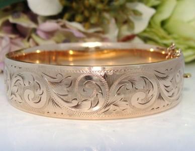 """BEST QUALITY """"Antique"""" Vintage 9ct Gold Metal Core Bangle Bracelet ENGLISH"""