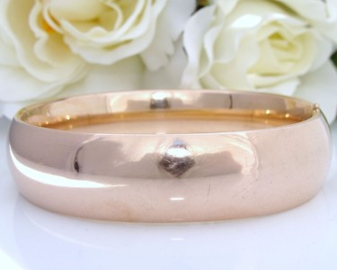 WIDE & PLAIN c1905 Antique Vintage 14K 14ct Pink Rose Gold GF Bangle Bracelet