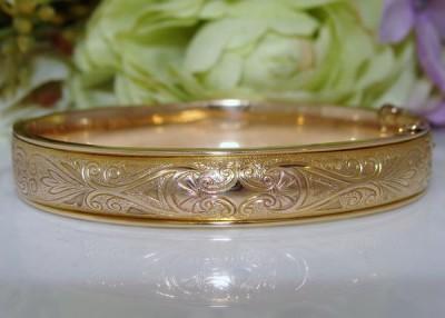 Stunning Bangle Bracelet Antique Deco Vintage c1930s 10K 10ct Gold GF SUPERB