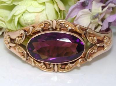 BEST Antique Edwardian 12ct  Rose Gold GF Fancy FAUX AMETHYST Bangle Bracelet
