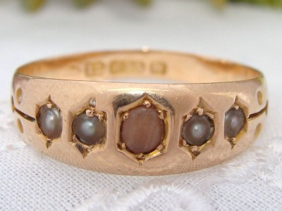 1856 English Antique 15ct Hallmark Gold Pink CORAL & Pearls Gypsy Style Ring