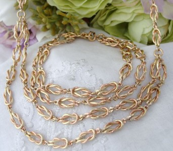MINT Vintage 12ct Rose & Yellow Gold GF LOVERS Knot Bracelet Necklace Set GIFT