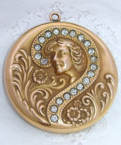 HUGE c1900 Antique Art Nouveau 12K Gold GF Paste GIBSON GIRL Locket Pendant