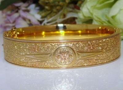 NEW w/ TAG Antique Vintage Deco Vintage 10k Gold GF on Sterling Bangle Bracelet