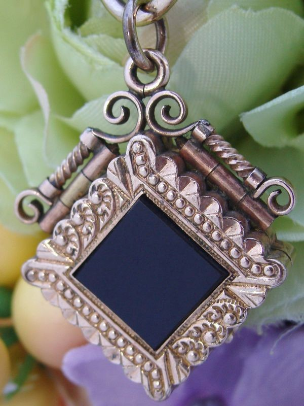 c1895 Antique Victorian 10ct 10K Yellow Rose Gold Filled GF Onyx & Tiger Eye Fob Chain Locket