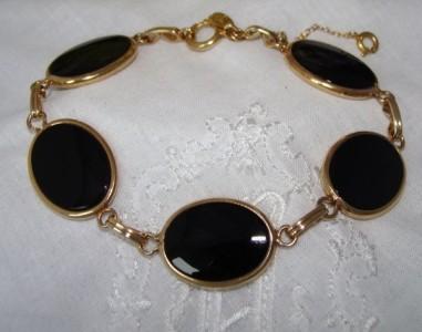 BIG Vintage Antique Deco 12ct 12K Yellow Gold GF ONYX Bangle Bracelet AS NEW
