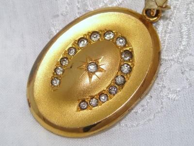 Old MINT w/ Tag Antique Nouveau 10K Gold GF Paste Horse Shoe Star Locket Pendant
