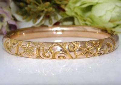 Rose Gold GF 12ct 12K Antique Edwardian Repousse Chased Bangle Bracelet PRISTINE