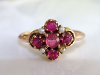 Antique Edwardian 10K 10ct Rose Gold Genuine Ruby Rubies & Pearls Ring