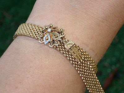Antique Victorian 12ct Solid Gold Pearl & Enamel Slide Bracelet with Tassels!