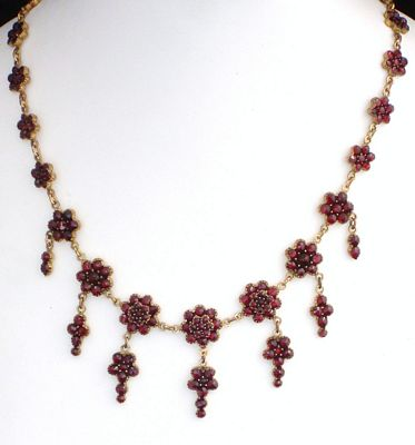 Antique Victorian Bohemain Garnet Drippy Gold Gilt Necklace