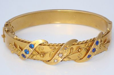 "Fancy Antique English Yellow Gold Diamond & ""Sapphire"" Bangle Bracelet"