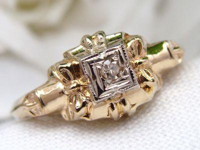 Antique DECO Vintage 14 carat 14K 14ct  Yellow Gold Diamond Ring