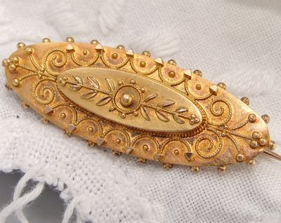 Antique Edwardian 1918 15ct Rose Yellow Gold Etruscan Locket  Brooch Pin