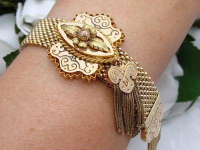 Antique Victorian 12 carat Rose & Green Gold SLIDE Tassel Bracelet