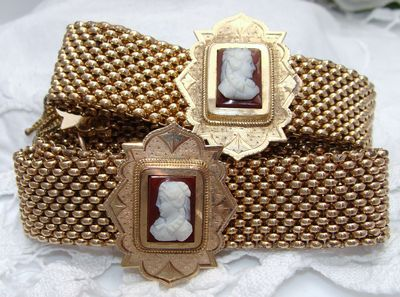 PAIR Antique Victorian Gold Filled GF Cameo SLIDE Bracelets