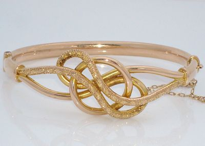 Antique English 9ct Rose Gold Lover's Knot Bracelet