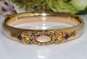 C1905 Antique Edwardian Pink Rose Gold Filled GF Bangle Bracelet