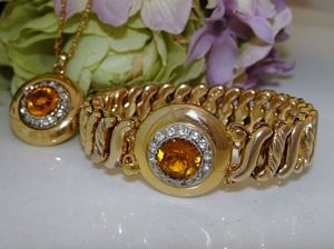 SET Antique Vintage 10K 10ct Gold GF CARMEN Faux CITRINE Stone Paste Bracelet & Pendant
