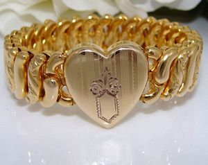 Antique Vintage DECO style Sweetheart Gold Filled GF Expansion Bracelet